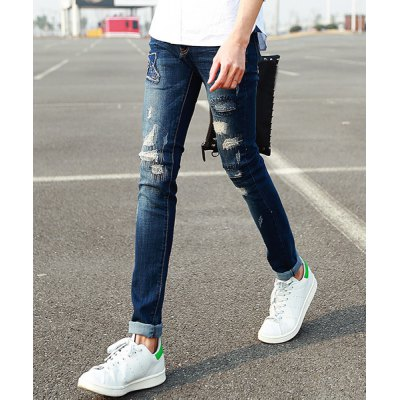 Гаджет   Fashion Zipper Fly Embroidery Embellished Destroy Wash Slimming Narrow Feet Men