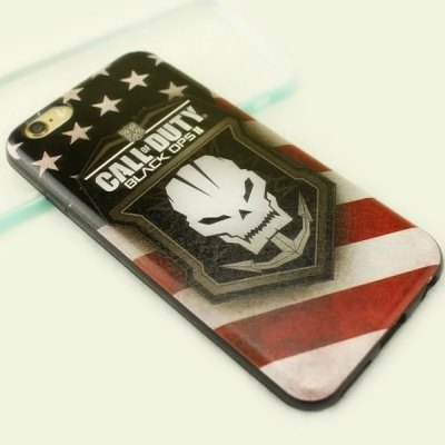 Stylish Skull Shield Pattern TPU and PU Material Back Cover Case for iPhone 6  -  4.7 inch