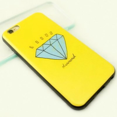 Stylish Diamond Pattern TPU and PU Material Back Cover Case for iPhone 6 Plus  -  5.5 inch