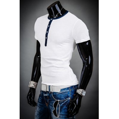 Гаджет   Fashion Color Block Purfle Round Neck Slimming Button Embellished Short Sleeves Men