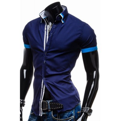 Гаджет   Fashion Button Fly Turn-down Collar Slimming Braid Design Color Block Short Sleeves Men