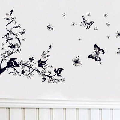 ФОТО Creative Plum and Butterfly Pattern Home Appliances Decoration Wall Sticker