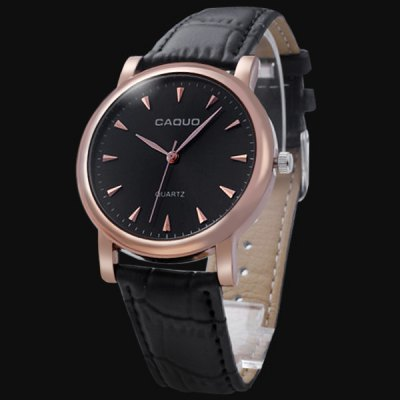 Caquo Leather Band Round Dial Male Quartz Business Watch