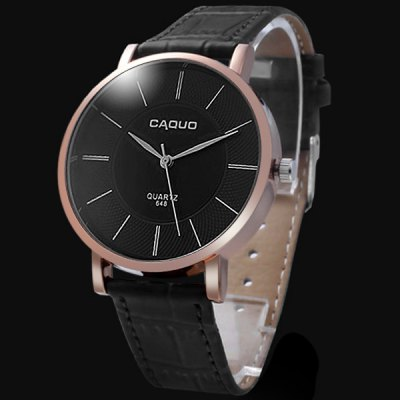 Caquo 648 Male Business Quartz Watch Wristwatch with Leather Band