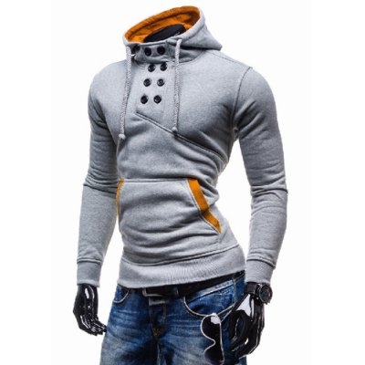 Novel Double-Breasted Embellished Hooded Color Splicing Slimming Long Sleeves Mens HoodieMens Hoodies &amp; Sweatshirts<br>Novel Double-Breasted Embellished Hooded Color Splicing Slimming Long Sleeves Mens Hoodie<br><br>Material: Polyester, Cotton<br>Clothing Length: Regular<br>Sleeve Length: Full<br>Style: Fashion<br>Weight: 0.410KG<br>Package Contents: 1 x Hoodie