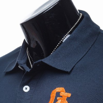 Фотография Fashion Turn-down Collar Embroidery Slimming Solid Color Short Sleeves Men