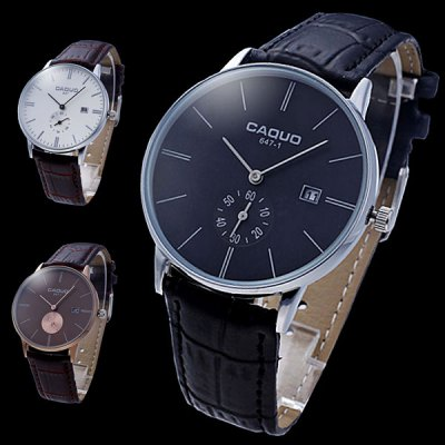 Caquo 647 Male Business Quartz Watch Wristwatch with Date Function Leather BandMens Watches<br>Caquo 647 Male Business Quartz Watch Wristwatch with Date Function Leather Band<br><br>Brand: Caquo<br>Watches categories: Male table<br>Watch style: Business<br>Available color: Brown, White, Black<br>Movement type: Quartz watch<br>Shape of the dial: Round<br>Display type: Analog<br>Case material: Stainless steel<br>Band material: Leather<br>Clasp type: Pin buckle<br>Special features: Date, Moving small one stitch<br>The dial thickness: 1.1 cm / 0.43 inches<br>The dial diameter: 4.1 cm / 1.61 inches<br>Product weight: 0.035 kg<br>Package weight: 0.085 kg<br>Product size (L x W x H): 23.5 x 4.1 x 1.1 cm / 9.24 x 1.61 x 0.43 inches<br>Package size (L x W x H): 24.5 x 5.1 x 2.1 cm / 9.63 x 2.00 x 0.83 inches<br>Package Contents: 1 x Caquo Watch