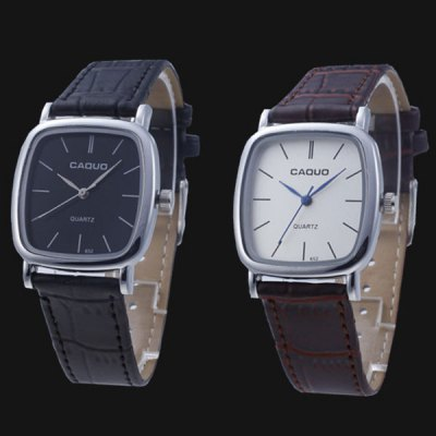 Гаджет   Caquo 652 Male Business Quartz Watch Wristwatch with Leather Band Men