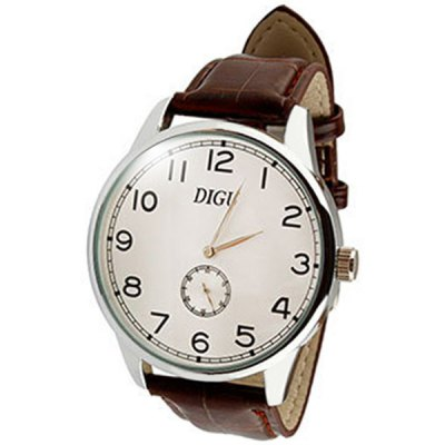 DIGU Male Business Quartz Watch Wristwatch with Leather Band