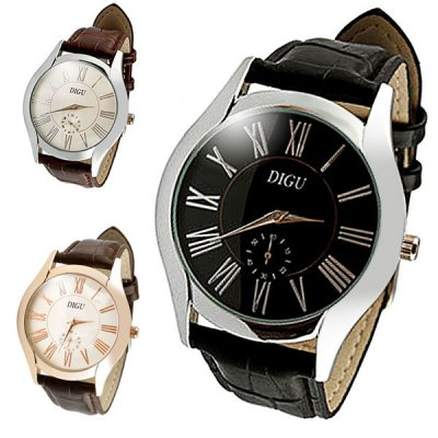 Гаджет   DIGU Working Sub - dial Male Quartz Business Watch Leather Band Round Dial Men
