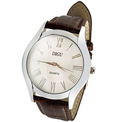 DIGU Male Quartz Business Watch Leather Band Round Dial