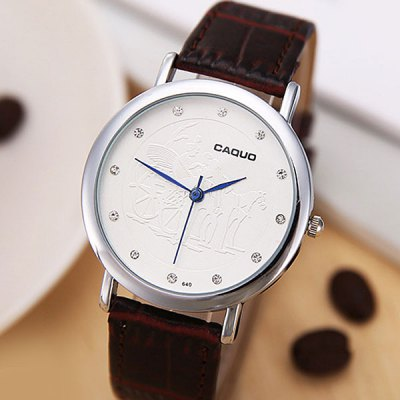 Caquo 640 Male Business Quartz Watch Diamond Wristwatch with Leather Band