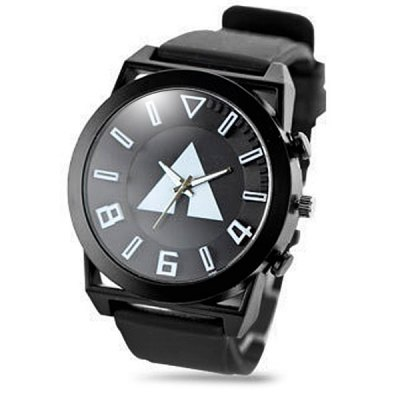Unisex Triangle Quartz Watch Round Dial Rubber Strap