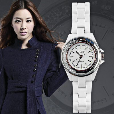 DIGU Ladies Rolling Diamond Quartz Watch Japan Movt Ceramic Strap