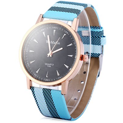 WoMaGe 1186 Quartz Watch Round Dial Leather Band for Ladies