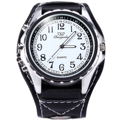 Гаджет   Chaoyada Male Quartz Watch with Round Dial Wide Leather Band Men
