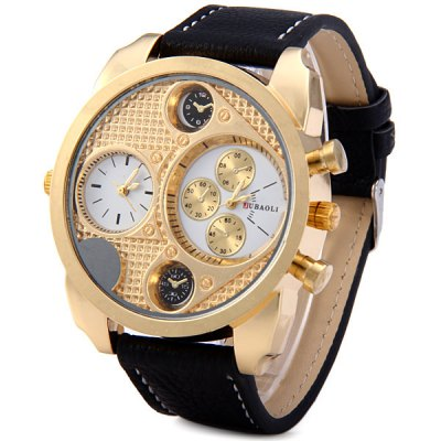 Jubaoli Dual Time Male Quartz Watch Decorative Sub - dials Leather Strap Round Dial