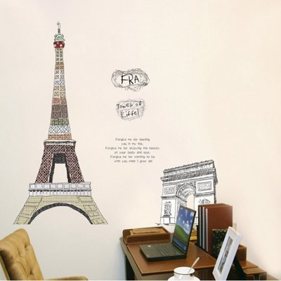 ФОТО Eiffel Tower and Triumphal Arch Pattern Home Appliances Decoration Wall Sticker