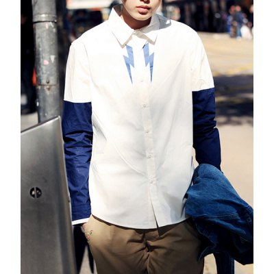 Гаджет   Slimming Turn-down Collar Classic Color Splicing Long Sleeves Men