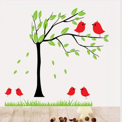 ФОТО Bird and Tree Pattern Home Appliances Decoration Wall Sticker