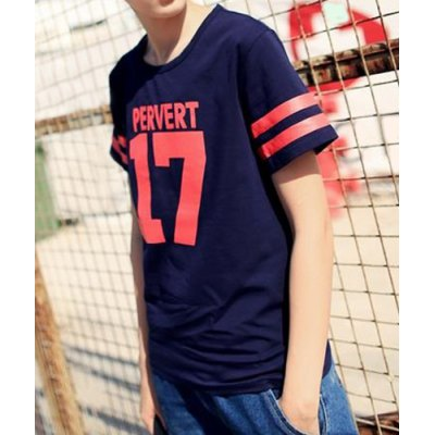Гаджет   Slimming Letters and Number Print Round Neck Stripes Splicing Short Sleeves Men