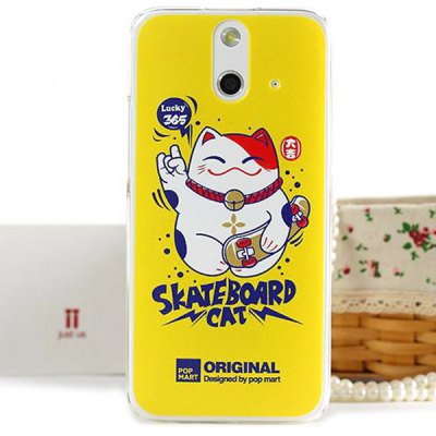3D Coloured Sculpture Lucky Cat Pattern Protective Case for HTC One E8