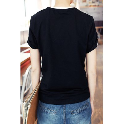 Гаджет   Simple Round Neck Letters and Tiger Print Slimming Solid Color Short Sleeves Men