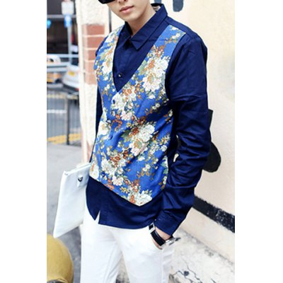 Гаджет   British Style Turn-down Collar Floral Splicing Slimming Faux Twinset Long Sleeves Men