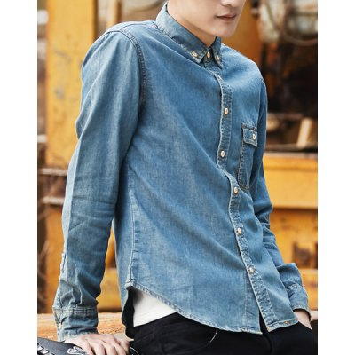 Гаджет   Slimming Turn-down Collar Button and Pocket Embellished Long Sleeves Men
