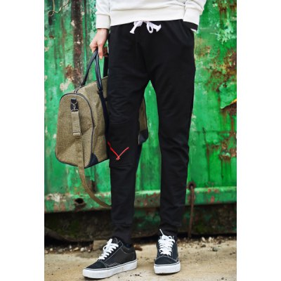 Гаджет   Sports Style Lace-Up Badge and Embroidery Embellished Slimming Narrow Feet Men