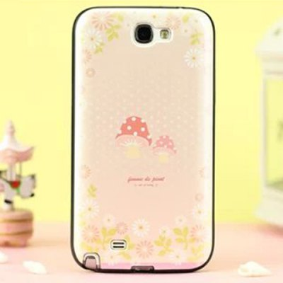 Stylish Mushroom Pattern TPU and PU Material Back Cover Case for Samsung Galaxy Note 2 N7100