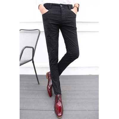 Гаджет   Casual Zipper Fly Plaid Print Slimming Pocket Embellished Straight Leg Men