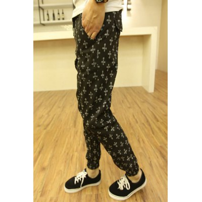 Гаджет   Stylish Lace-Up Personality Cross Print Slimming Solid Color Narrow Feet Men