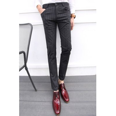 Гаджет   Classic Stripes Print Zipper Fly Slimming Casual Design Straight Leg Men
