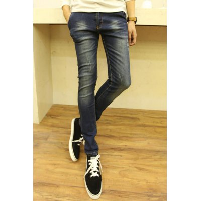 Гаджет   Stylish PU Leather and Pocket Embellished Zipper Fly Bleach Wash Slimming Narrow Feet Men