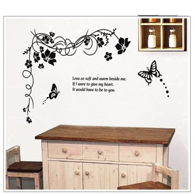 Фотография Peach Blossom and Butterfly Pattern Home Appliances Decoration Wall Sticker