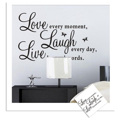 Live Love Laugh English Quotes Pattern Home Appliances Decoration Wall StickerWall Stickers<br>Live Love Laugh English Quotes Pattern Home Appliances Decoration Wall Sticker<br><br>Art Style: Plane Wall Stickers<br>Functions: Decorative Wall Stickers<br>Hang In/Stick On: Bathroom,Living Rooms,Bedrooms,Offices,Cafes,Hotels,Kids Room<br>Material: Vinyl(PVC)<br>Package Contents: 1 x Wall Sticker<br>Package size (L x W x H): 25.00 x 5.00 x 5.00 cm / 9.84 x 1.97 x 1.97 inches<br>Package weight: 0.220 kg<br>Product size (L x W x H): 75.00 x 25.00 x 0.10 cm / 29.53 x 9.84 x 0.04 inches<br>Product weight: 0.066 kg
