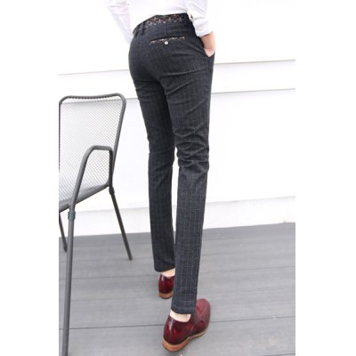 Гаджет   Elegant Mid Waist Zipper Fly Plaid Print Slimming Purfle Design Straight Leg Men