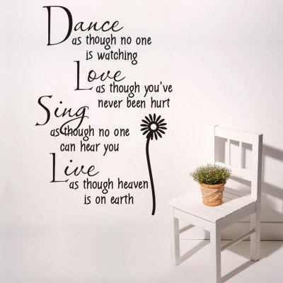 ФОТО Dance Love Sing Live English Quote Pattern Home Appliances Decoration Wall Sticker