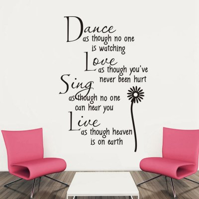 Dance Love Sing Live English Quote Pattern Home Appliances Decoration Wall Sticker