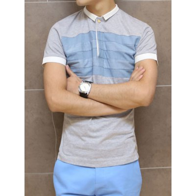 ФОТО Stylish Turndown Collar Slimming Color Splicing Short Sleeve Cotton Blend Polo T-Shirt For Men