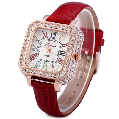 ФОТО Tianshou 0727 Diamond Quartz Watch with Glossy Leather Strap Rectangle Dial for Women