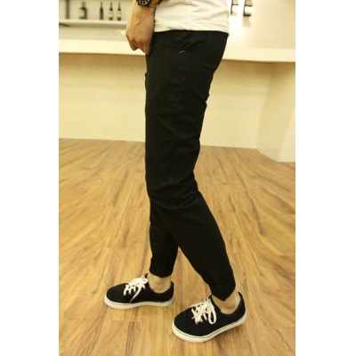 Гаджет   Fashion Embroidery Design Zipper Fly Solid Color Slimming Narrow Feet Men