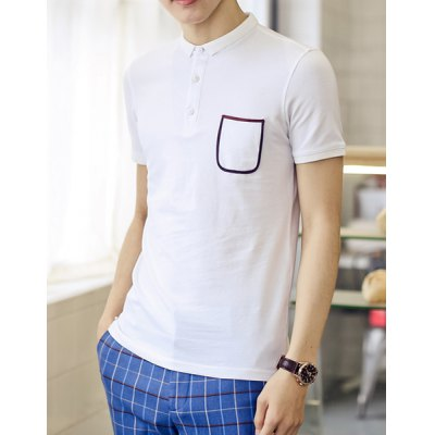 ФОТО Stylish Turndown Collar Slimming Color Block Pocket Short Sleeve Cotton Blend Polo T-Shirt For Men
