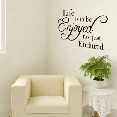 ФОТО Life is To Be Enjoyed English Words Pattern Home Appliances Decoration Wall Sticker