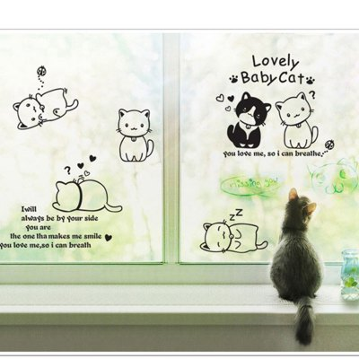 ФОТО Lovely Baby Cat Pattern Home Appliances Decoration Wall Sticker