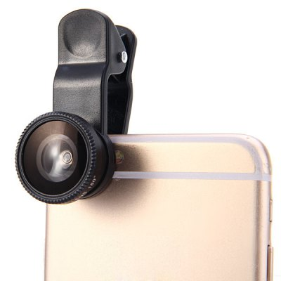 Фотография LIEQI LQ003 3 in 1 Clamp Camera Lens Including Fisheye Macro and 0.4X Wide Angle  for iPhone 6 / 6 Plus iPad Samsung and Most of Smart Phone