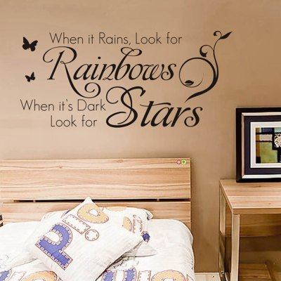 ФОТО Rainbows and Stars English Words Pattern Home Appliances Decoration Wall Sticker