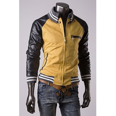 ФОТО Trendy Knitted Stand Collar Slimming Color Block PU Leather Splicing Long Sleeves Men