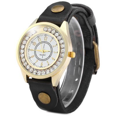 ФОТО Shiny Rolling Diamond Quartz Watch with Leather Strap for Women